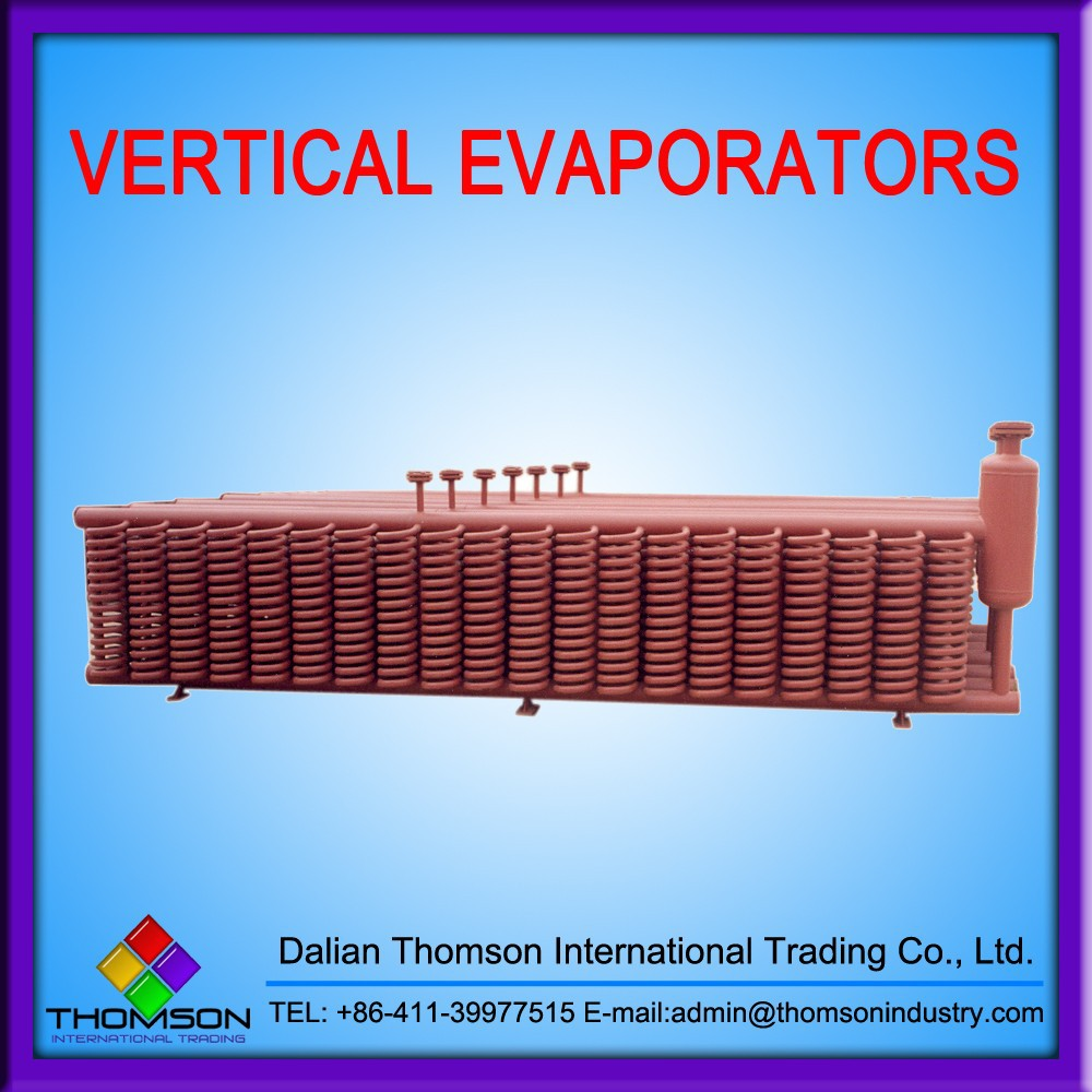 Vertical evaporator used in refrigerating system
