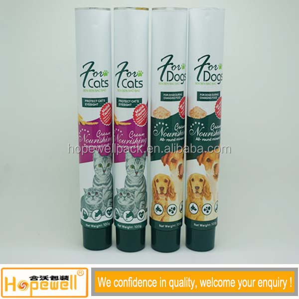 2015 hot selling high class empty food aluminum tube dog food tube