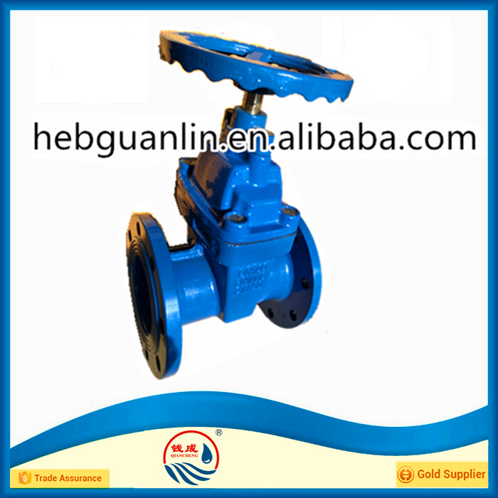 PN16 DN100 Non Rising Long Stem Resilient Soft Seated Gate Valve
