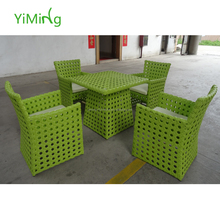 2015 New design Green poly rattan dining set outdoor furniture