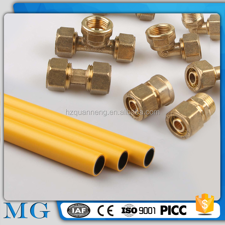 MG pex al pex aluminum flexible multilayer gas pipe and gas pipe compression fitting underground plastic gas pipe brass fitting