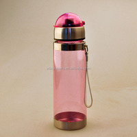 stainless stell and plastic water bottle with carrying strap and suction nozzle