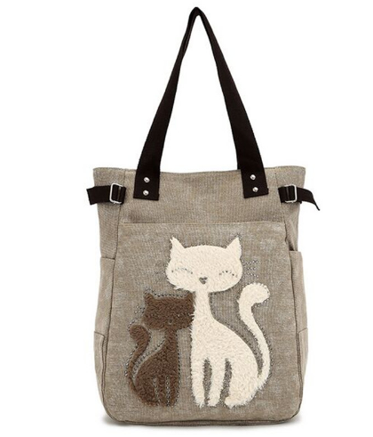 2017 Fashion Women's Handbag Cute Cat Tote Bag Lady Canvas Bag Shoulder bag
