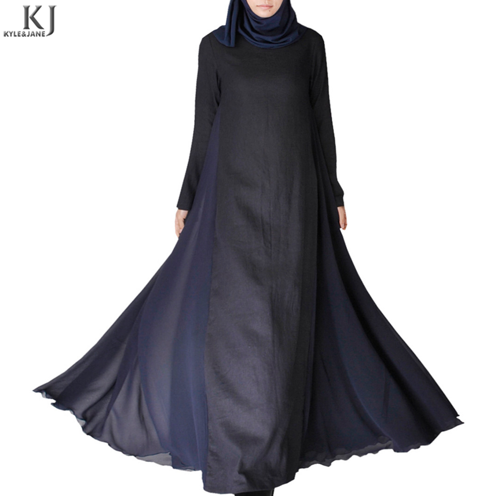 100% cotton linen muslim clothing casual modest islamic fashion abaya with chiffon slit on skirt