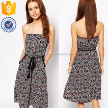 Sexy elasticated bandeau neckline dress with relaxed side pockets casual women dress for wholesale