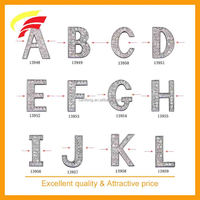 zinc alloy alphabet ornament , metal letter strap decoration with rhinestones