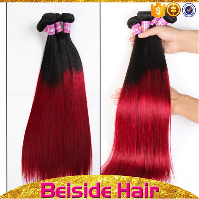 straight <strong>Black</strong> and red two tone brazilian virgin human hair weave human hair extension brands