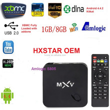 Internet tv box MXV Quad Core Android TV BOX S805 1GB/8GB 1.5 GHZ Android 4.4 KODI WIFI Bluetooth H.265 HEVC Media Player MXV