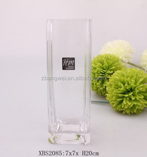 high clear square blown glass vase