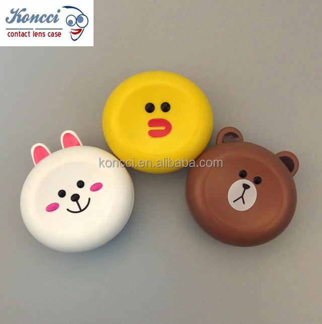 Excellent high quality whloesale factory Compact Style 3D Bear Contact Lens Box A-H9009
