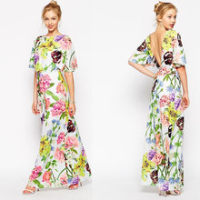 Juhai 3550 2016 american designer evening women casual one piece dress in floral print