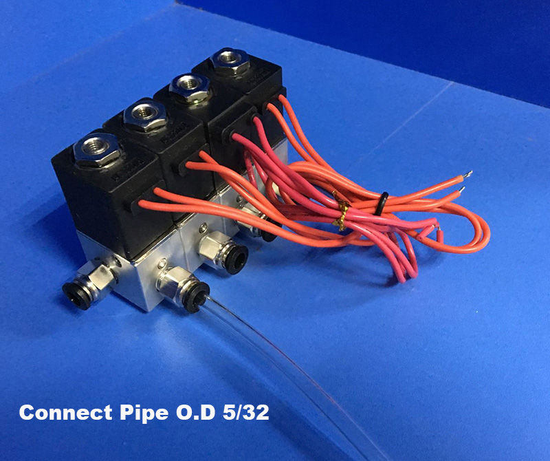 4pcs manifold valve connet pipe <strong>O</strong>.D 5/32 Pneumatic direct act solenoid valve 24V DC gas valve set