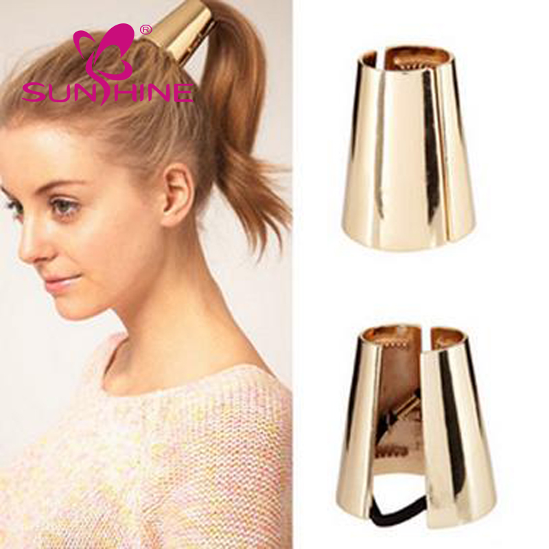 Fashion Headwear Filigree Curved Lace Pony Tail Metal Holder Hair Cuff Band