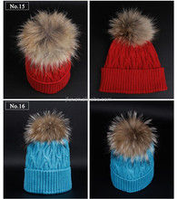 Women Knitted beanie hat With 19cm Large Raccoon Fur pompoms