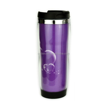 Hot Sell 12oz Promotion Cup Customized Ad Paper Insert Plastic Travel Mug Diy Car Mug