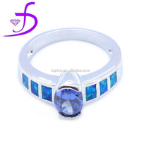 Fashion tanzanite opal ring in standard 925 sterling silver