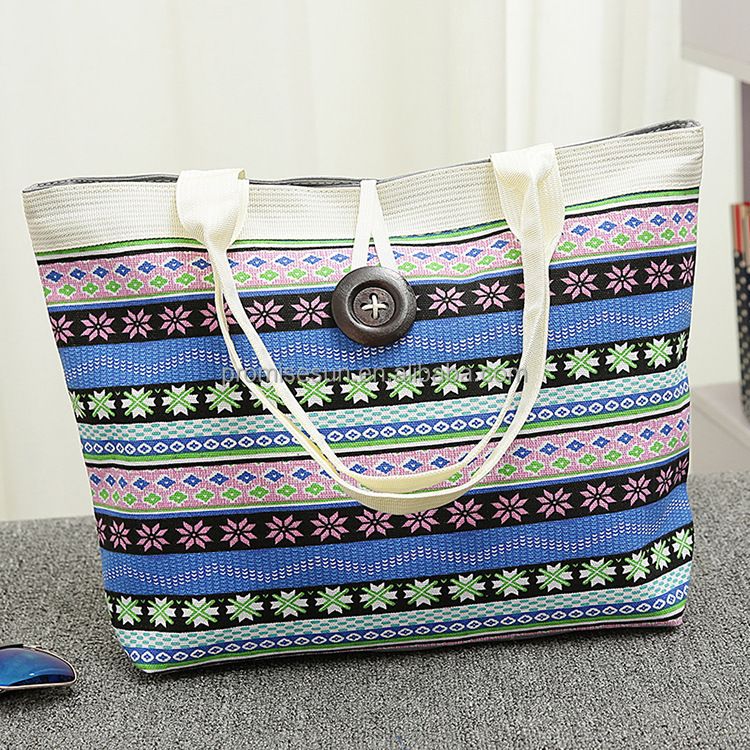 New female thin fashion stripe national wind canvas bag trend cloth custom printing single shoulder beach shopping tote bag