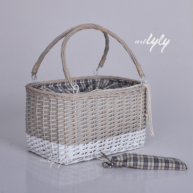 Tiny Wicker Basket With Handle : Grey portative wicker basket small with handle buy