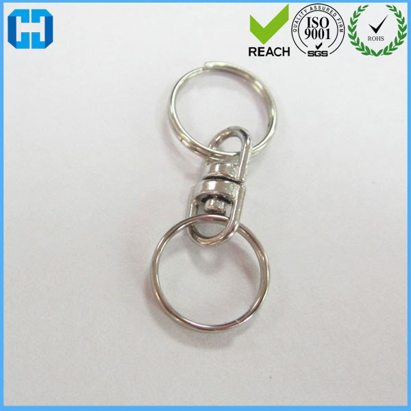 Promotional Split Key Chain Ring with Double Round Swivel Eye