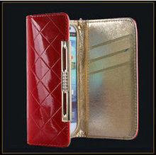 Wholesale phone accessory luxury patent wallet leather case bag for samsung galaxy s3