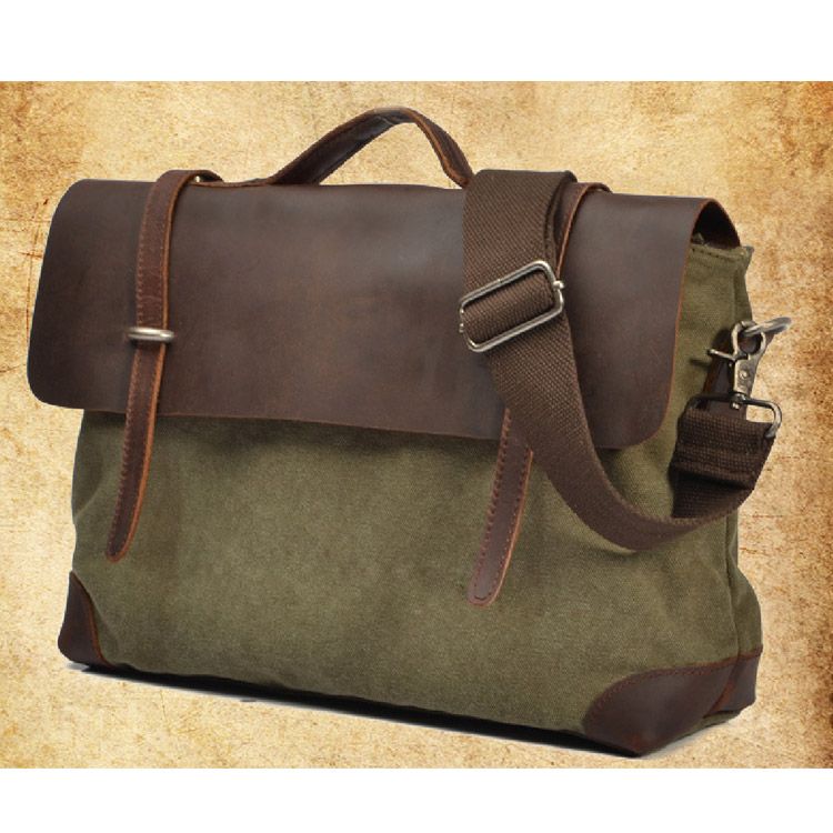 Top Quality Crazy Horse Leather Canvas Bag Mens Canvas Office Bag