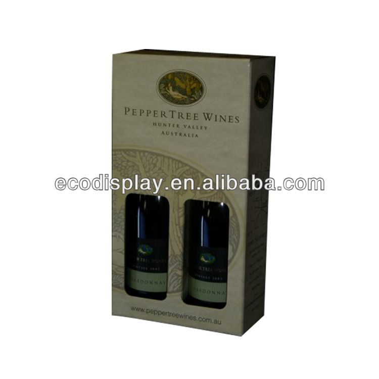Classic corrugated cardboard wine box with double bottles