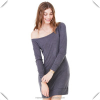 Ladie's Lightweight Sweater Dress 65% Polyester 35% Viscose Longline Sweatshirts Dark Grey Off the Shoulder Sweatshirt Dress