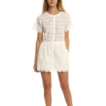Fashion white round collar short sleeve hollow women playsuit
