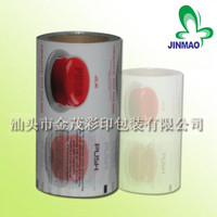 Laminated plastic roll film for jelly packaging