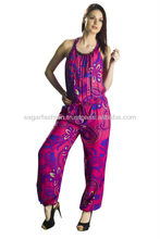 new design ladies jump suit 2016 stylish pink floral printed suit yoga and sport night wear gym wear