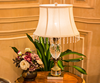 European style crystal lampbody metal leaf decorative table lamp with fabric lampshade