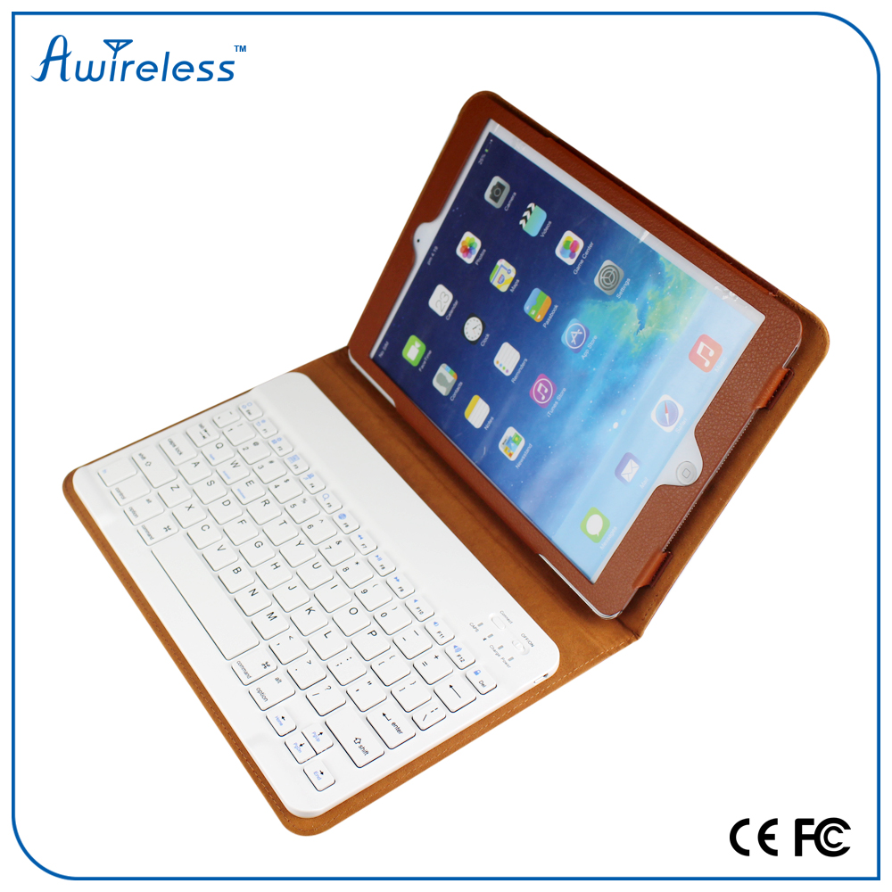 High quality portable PU leather wireless bluetooth keyboard with case for ipad 4