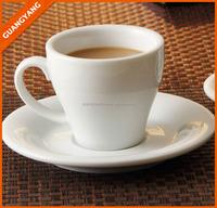 80 cc 100 cc porcelain v shape ceramic coffee cup and saucer ,expresso coffee and tea set for resturant