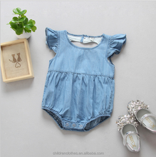 Newborn kids jumpsuit Heart shape back design clothing Denim flutter sleeve baby romper