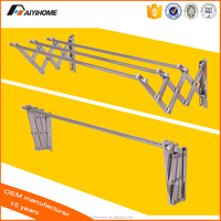 retractable folding aluminum wall mounted hanging clothes hanger drying rack