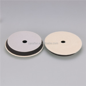 6'' Wool polishing pad for car detailing hook and loop car buffing pad