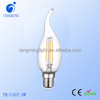AC120V dimmable E12 E14 6500K filament led Flame Tip Bulb, 40W Equivalent filament lights