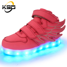 NEW 2016 fashion wear-resisting sport high top light up the wings led shoes for kids