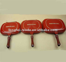 Non-stick Coating Double Sided Red Frying Grill Pans