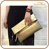 China Supplier Genuine Gold Leather Large Capacity Clutch Envelope Bag for Lady