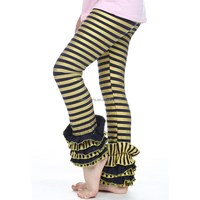 Fancy Kid's ruffle striped pant,leggings Girls toddler leggings,wholesale toddlers cotton striped leggings