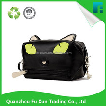2016 Glamourous Design Waterproof black cosmetic bag with lovely cat pattern