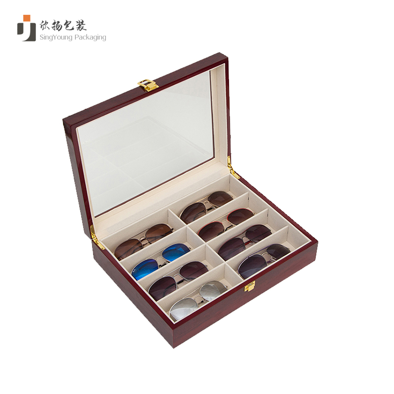 Sun Glasses Watch Jewelry Accessories Box Organizer Leather 8 Solt Wooden Glasses Box