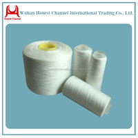 China hubei yarn Supply 100 pct polyester spun raw white yarn from china