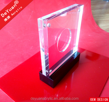 Round Coin Award Trophy Crystal Plaques Eco-friendly