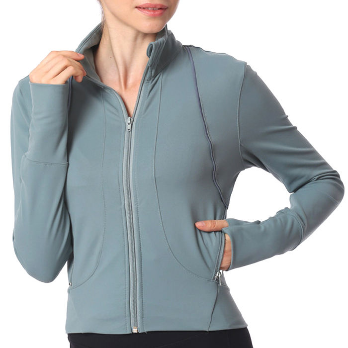 thumb <strong>holes</strong> zipper pockets custom private label dri fit <strong>cotton</strong> like supplex quick dry women yoga sports jacket