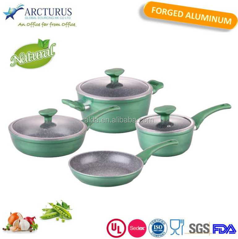 8pcs well equipped kitchenware and cookware set with high quality glass lid
