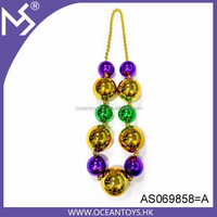 Party carnival necklace purple gold green jumbo mardi gras beads
