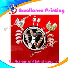 high quality hot sale self adhesive vw logo car sticker