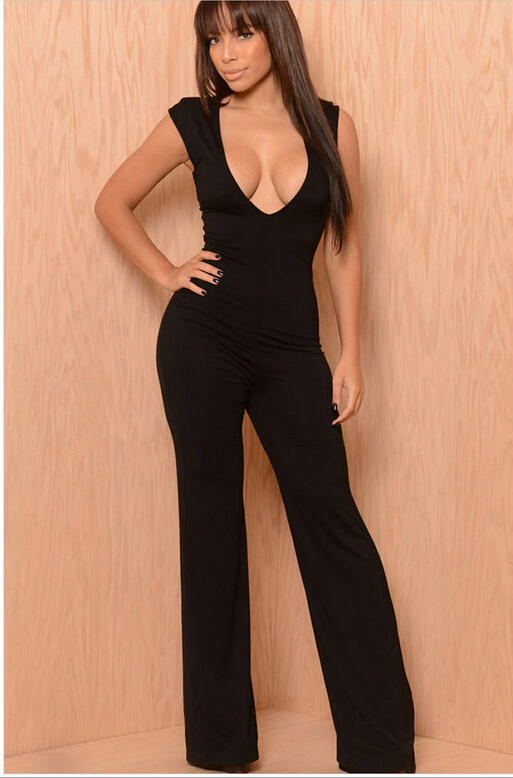 SEXY V-NECK EVENING JUMPSUITS FOR WOMEN